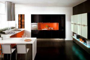 Фото: кухни в этно стиле оранжево-черные