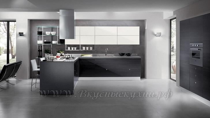Фото: серая кухня в стиле хайтек