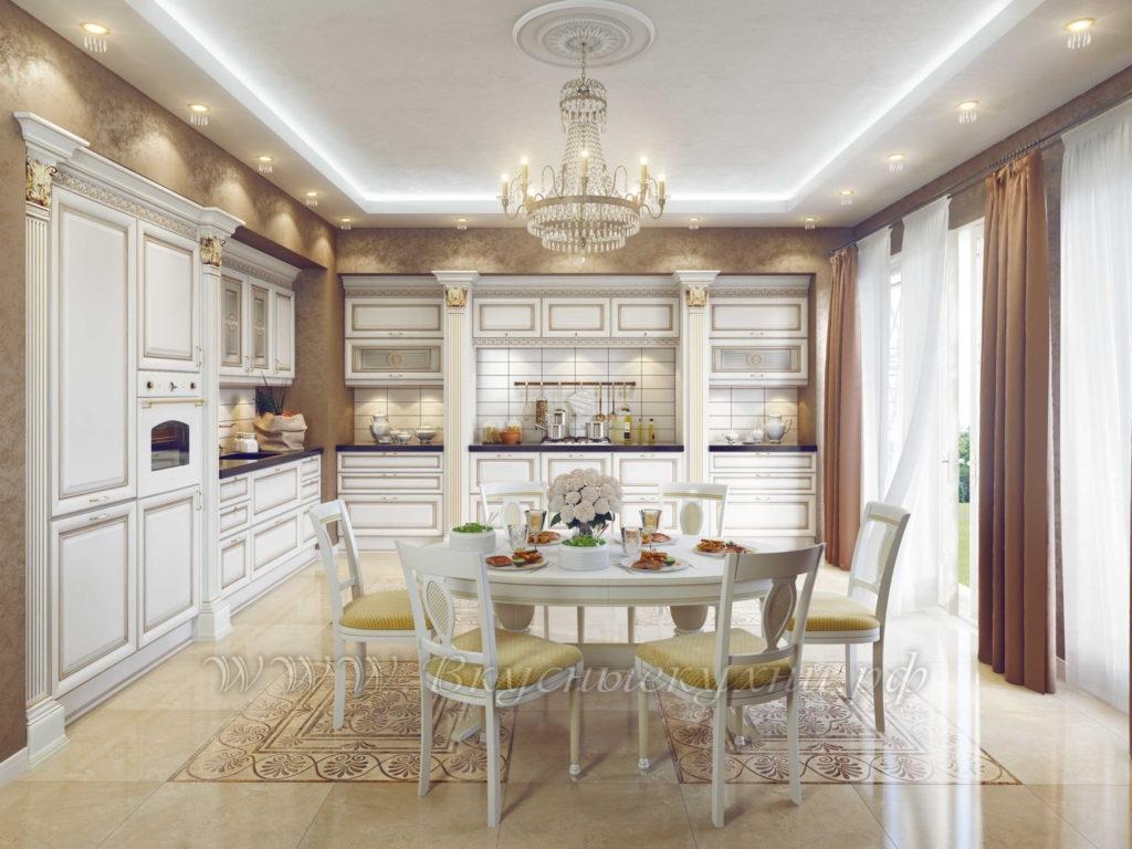 Фото: белая классическая кухня на заказ
