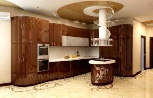 фото: коричневая кухня в современном стиле из мдф