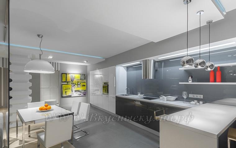 Фото: кухня в серых тонах в стиле хайтек