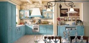 Фото: голубая кухня в стиле прованс и лофт на заказ