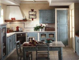 Фото: голубая кухня стиле кантри