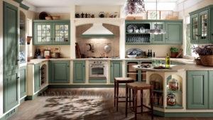 Фото: зеленая кухня стиле кантри