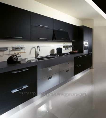 Фото: кухня в темных тонах в стиле хайтек