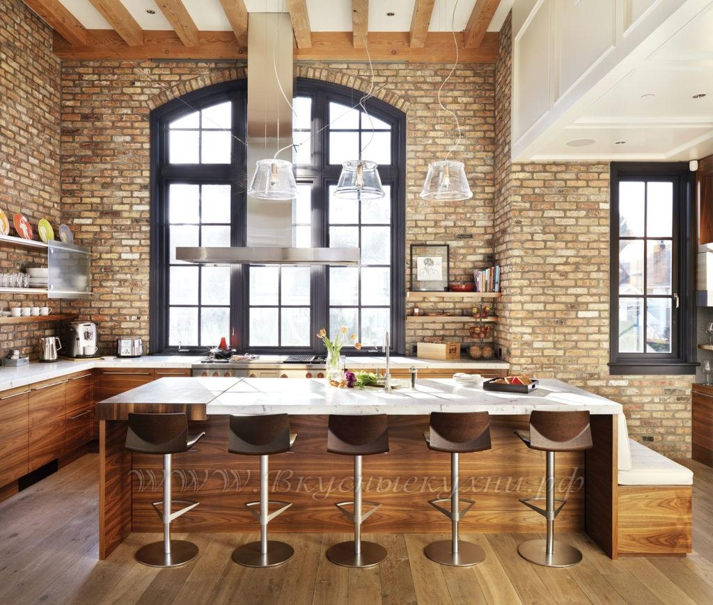 Фото: кухни в стиле лофт из массива