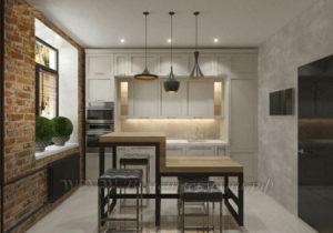 Фото:купить кухню в стиле лофт из массива