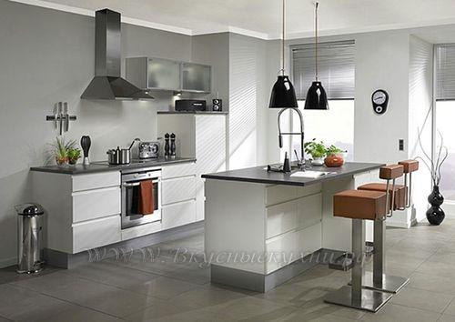 Фото: островая кухня в стиле хайтек