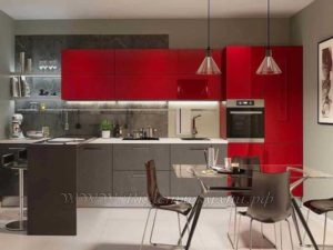 фото: красно серая кухня в современном стиле