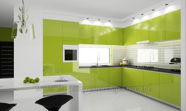 фото: зеленая кухня в стиле модерн