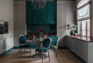 Фото: зеленая кухня в стиле прованс под заказ