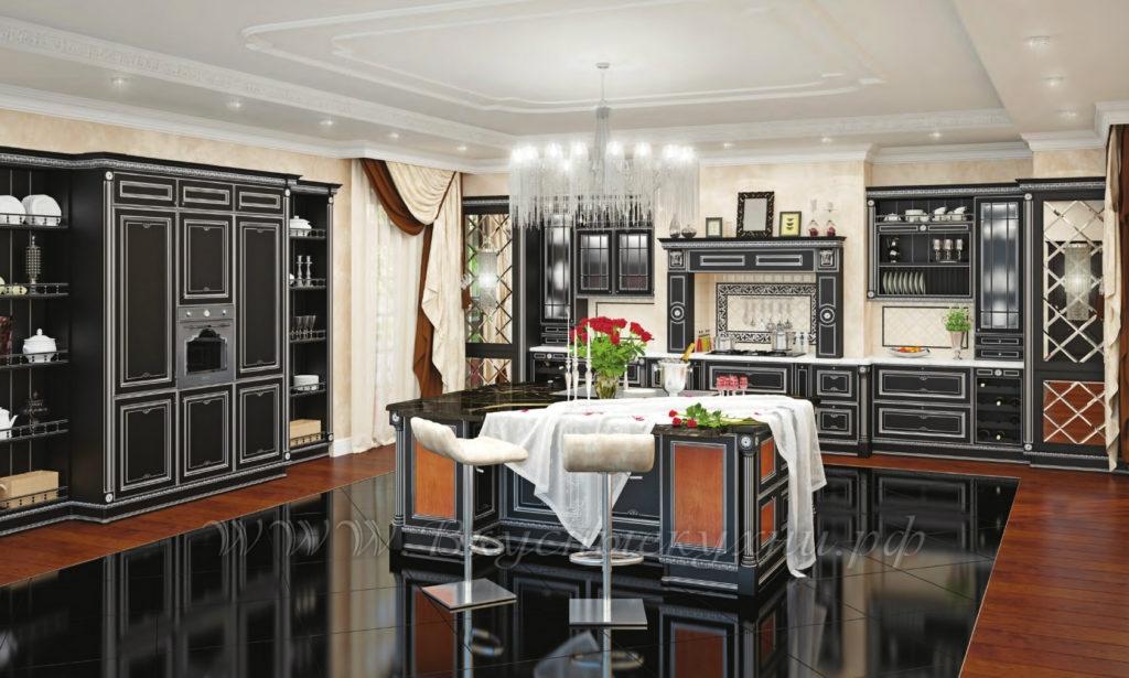Фото: темная красивая кухня в классическом стиле