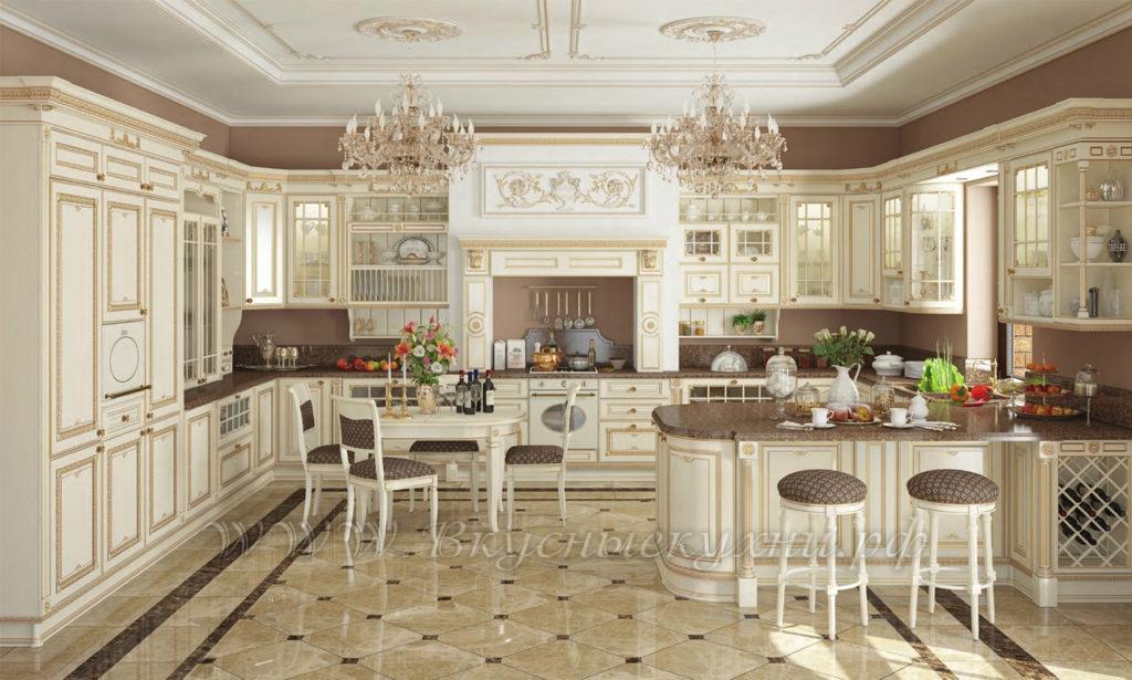 Фото: светлая красивая кухня в классическом стиле
