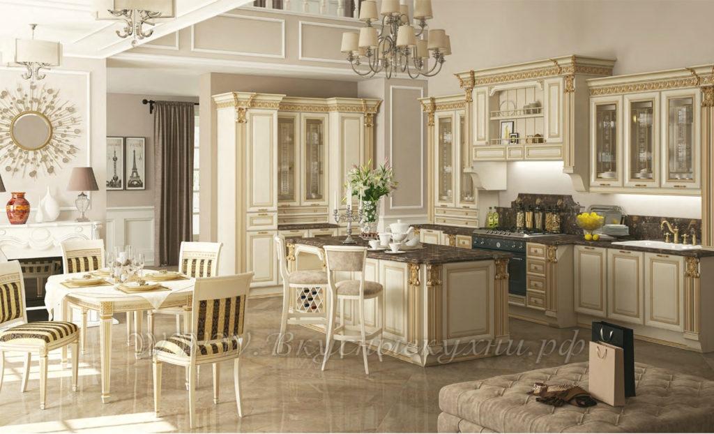 Фото: светлая кухня в классическом стиле